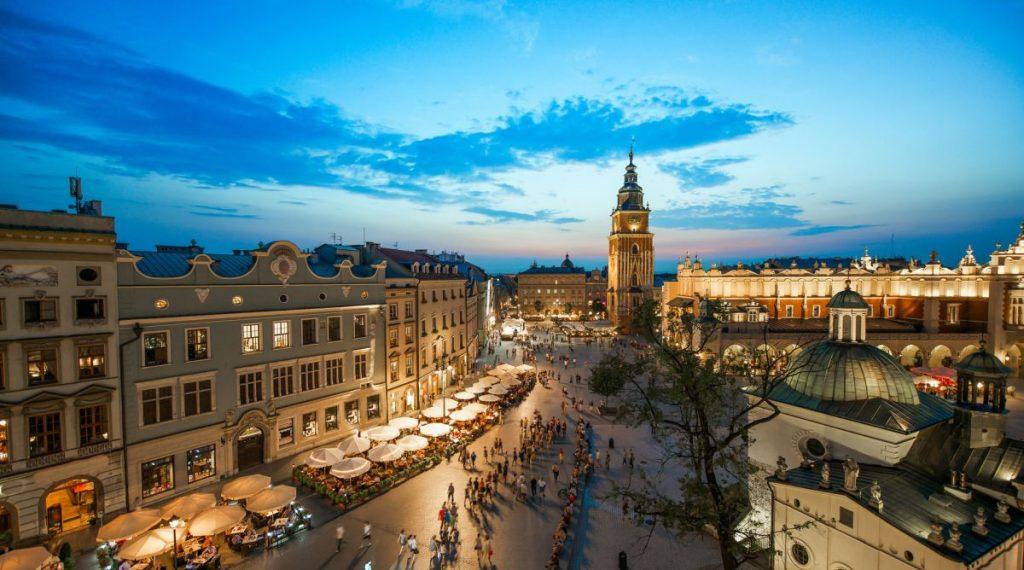 Kraków rynek z lotu ptaka